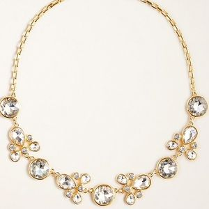 Ann Taylor crystal statement necklace/gold tone